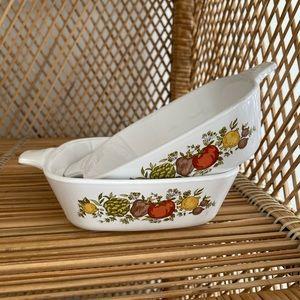 Vintage Corning ware spice of life dish set of 2